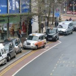 Blocked - The taxi drivers use the cycle lane as an extension of the taxi rank